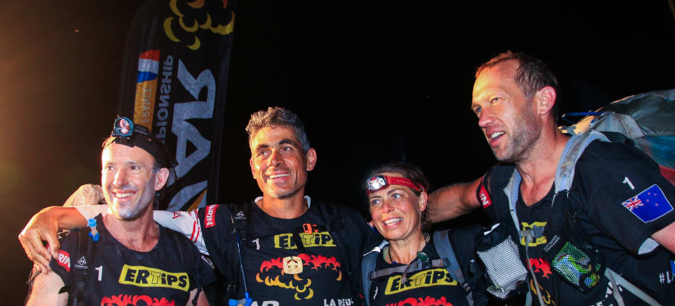 The triumphant New Zealand Avaya team  at the finish-line on Reunion Island, crowned the world adventure race champions for a fifth year running (from left): Chris Forne, Nathan Fa'aeve, Fleur Pawsey and Stu Lynch. Photo: supplied.