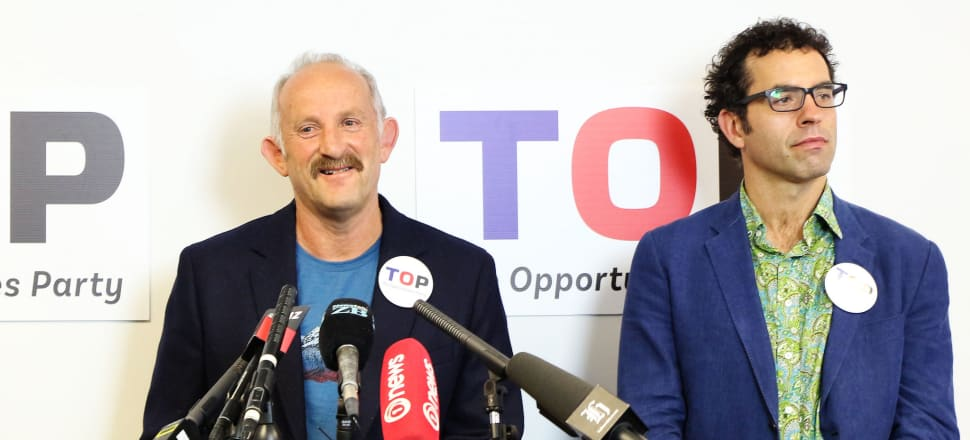 Gareth Morgan and Geoff Simmons at a TOP pre-election news conference: the party is currently struggling to reinvent itself and embroiled in a faction fight over its future. Photo by Lynn Grieveson