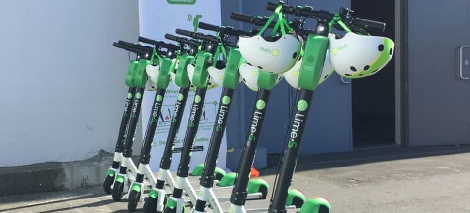 Lime scooters parked and ready to go in Lower Hutt. Photo RNZ