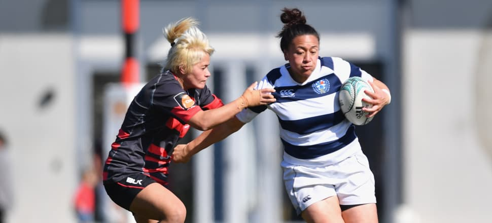 Sui Pauaraisa (left) tries to halt Naite Faitala-Mariner in a 2016 Farah Palmer Cup match between Canterbury and Auckland. Photo: Getty Images.