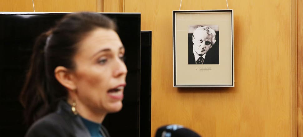 Ardern announces her new ministers last year under a portrait of Norman Kirk:  a persistent strand of Labour thinking since Kirk's death in 1974 holds that his government was the last great Labour government. Now Ardern is being framed as his successor. Photo: Lynn Grieveson