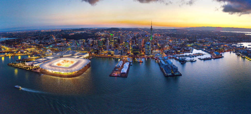 An aerial view of what an Auckland Waterfront Stadium could look like. Photo: Incredible Images