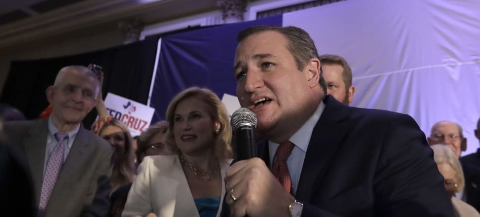 Senator Ted Cruz delivers his victory speech during an election night party. Photo: AP