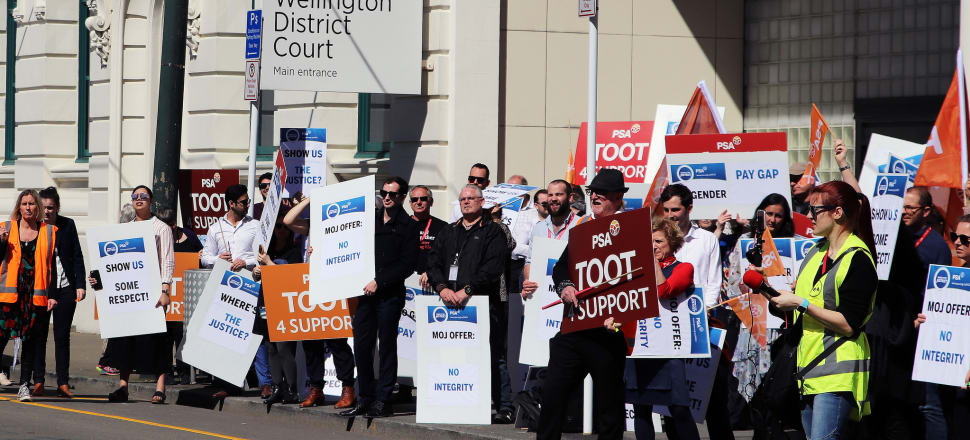 Court staff are calling for better pay and a clearer offer package from the Ministry of Justice, as industrial action drags into its seventh week. Photo: Lynn Grieveson