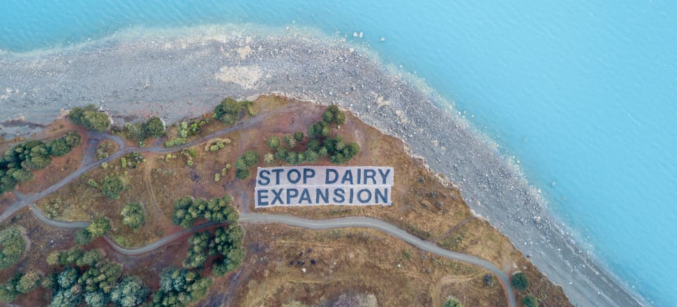 A football field-sized sign unfurled on the shores of Lake Pukaki in July. Photo: Greenpeace/Geoff Reid