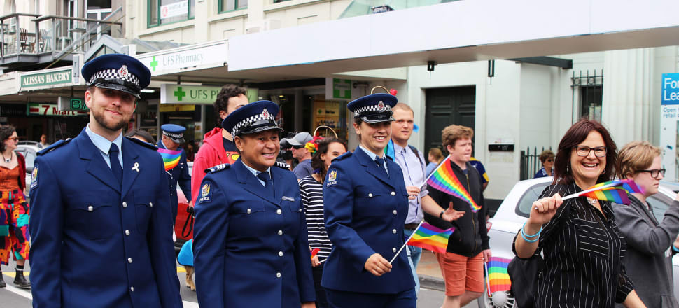 Uniformed police officers marching in 2017 Wellington Pride Parade. Photo: Lynn Grieveson