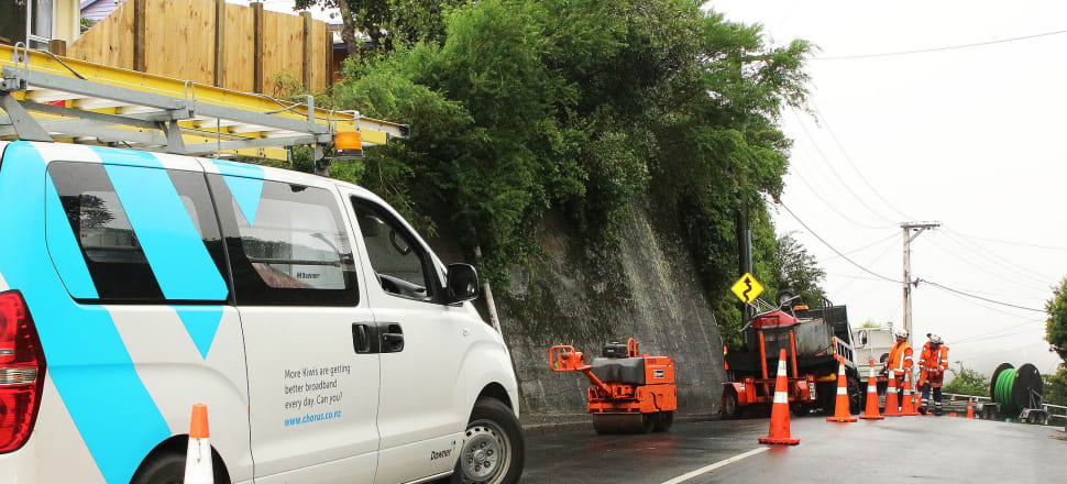 High speed broadband cabling being installed by Chorus workers in Brooklyn, Wellington. Photo by Lynn Grieveson