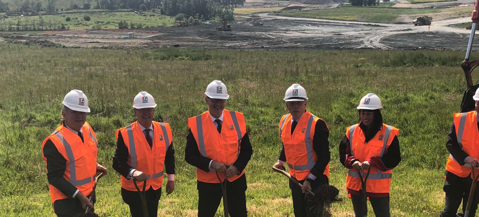 Phil Twyford wants private investors to give him more moments like this: announcing a $91 million infrastructure project at Millwater. Photo: Supplied