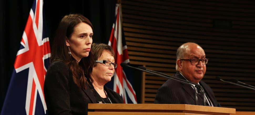 Prime Minister Jacinda Ardern, children's minister Tracey Martin and chair of the Royal Commission Sir Anand Satyanand announce the extension into church care of children. Photo: Lynn Grieveson