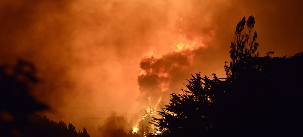 Christchurch's Port Hills burn. Photo: Getty Images