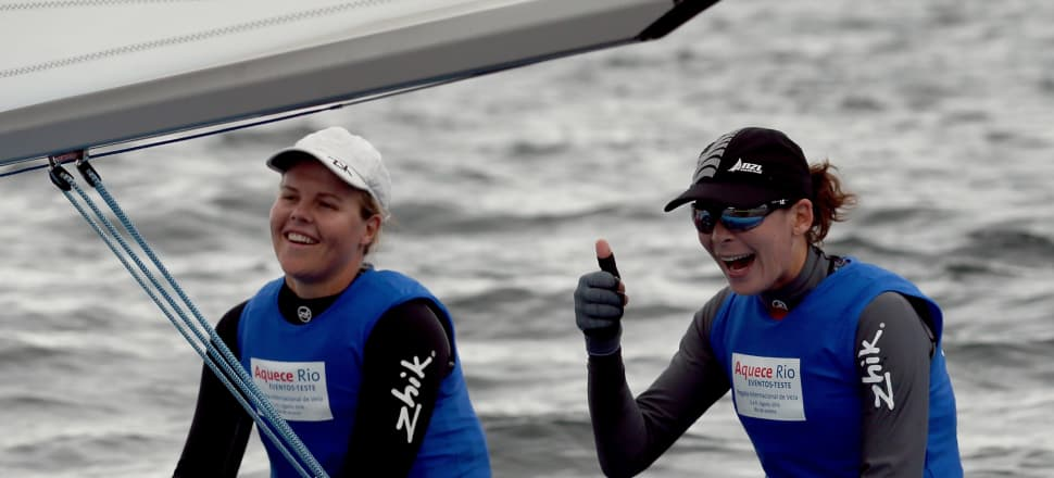 """Team Jolly - Polly Powrie and Jo Aleh (right) - moved into careers away from sailing after winning silver at the 2016 Rio Olympics. But Aleh has found the switch to """"normal life"""" more difficult.  Photo: Getty Images."""