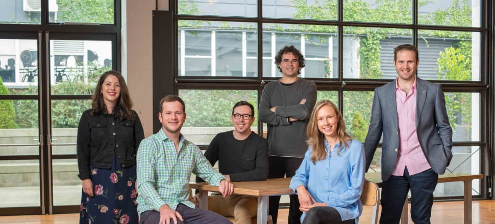 From left, Sharesies founders Sonya Williams, Leighton Roberts, Ben Crotty, Richard Clark, Brooke Roberts, Martyn Smith. Photo: Supplied