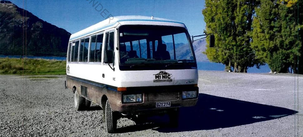 Southern Discoveries' Mitsubishi 4WD bus on the day of the fatal accident at Mt Nicholas Station, near Queenstown. Photo: WorkSafe