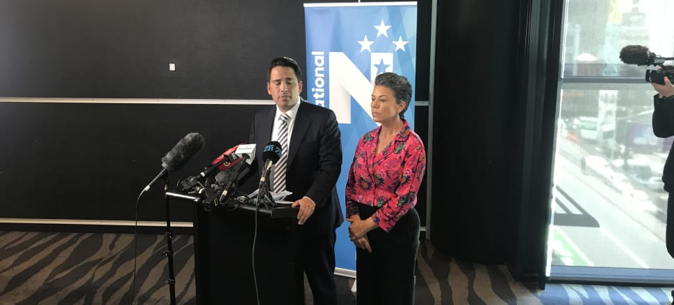 Yesterday, Simon Bridges (with deputy leader Paula Bennett by his side) at a news conference where he announced the findings of an inquiry he commissioned into the leak of his expenses. Photo: Tim Murphy