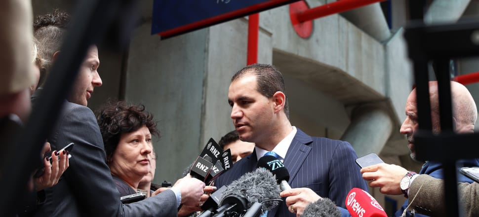 Jami-Lee Ross outside Wellington Police Station where he confirmed he had been speaking to Simon Lusk. Photo: Lynn Grieveson