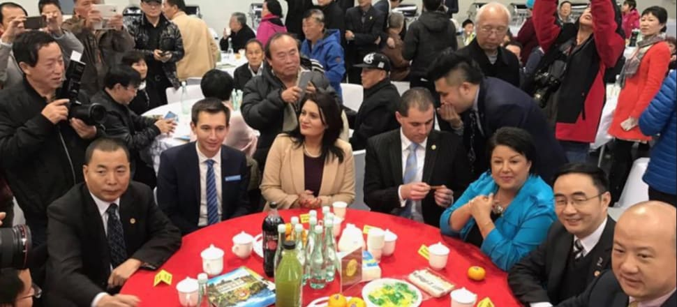A photo tweeted by then Deputy Prime Minister Paula Bennett in July last year while at a dinner with National List MP Jian Yang (next to Bennett) and Zhang Yikun (next to Jian). Jami-Lee Ross is sitting next to Bennett. National MPs Parmjeet Parmar and Simeon Brown are next to him. Photo: Supplied