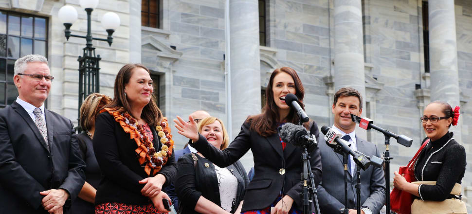 The new Government on the steps of Parliament one year ago. Photo: Lynn Grieveson.