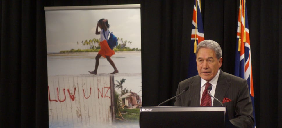 Foreign Affairs Minister Winston Peters at the Government's pre-Budget announcement on foreign affairs funding. Photo: Sam Sachdeva.