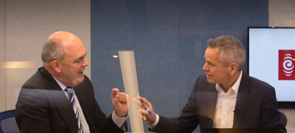 RNZ's Guyon Espiner interviews National Party Campaign Manager Steven Joyce. Photo by RNZ Claire Eastham-Farrelly.