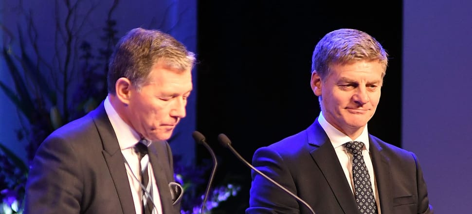 National Party president Peter Goodfellow with Prime Minister Bill English. Photo: Getty Images
