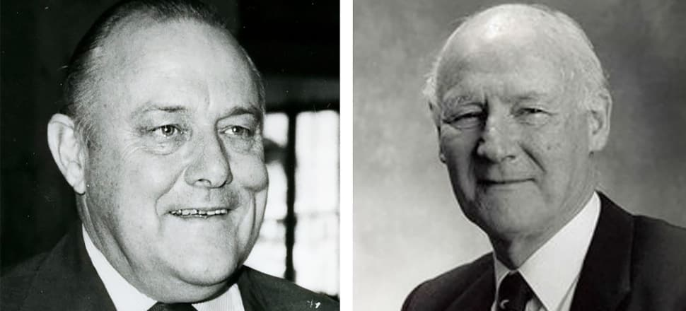 Then Prime Minister Robert Muldoon, left, appointed economist Len Bayliss, to his key economic advice body in the early 1970s. By the early 1980s Bayliss was increasingly critical of Muldoon's policies and eventually resigned from the BNZ after they clashed. Photo montage by Lynn Grieveson.