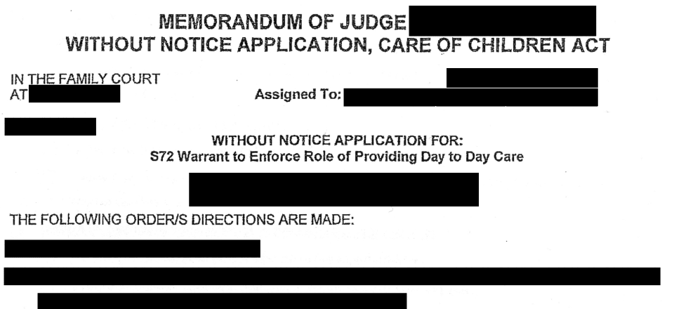 Without-notice applications for parenting orders are supposed to be filed in urgent situations.