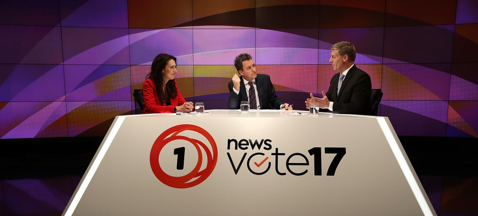Labour Leader Jacinda Ardern and National Leader Bill English in the final televised election debate at TVNZ's studios in Auckland. Photo by Getty Images.