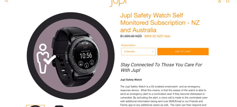 A screenshot from the website advertising the Jupl smart watch.