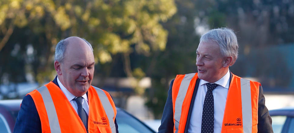 Another hi-vis vest announcement involving Finance Minister Steven Joyce (left) and Auckland Mayor Phil Goff. Photo: Getty Images