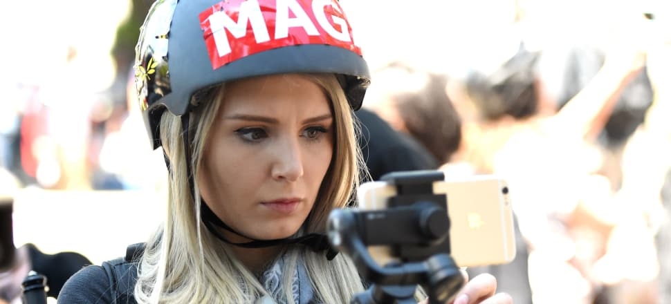 Lauren Southern at a rally last year; Photo: Getty Images