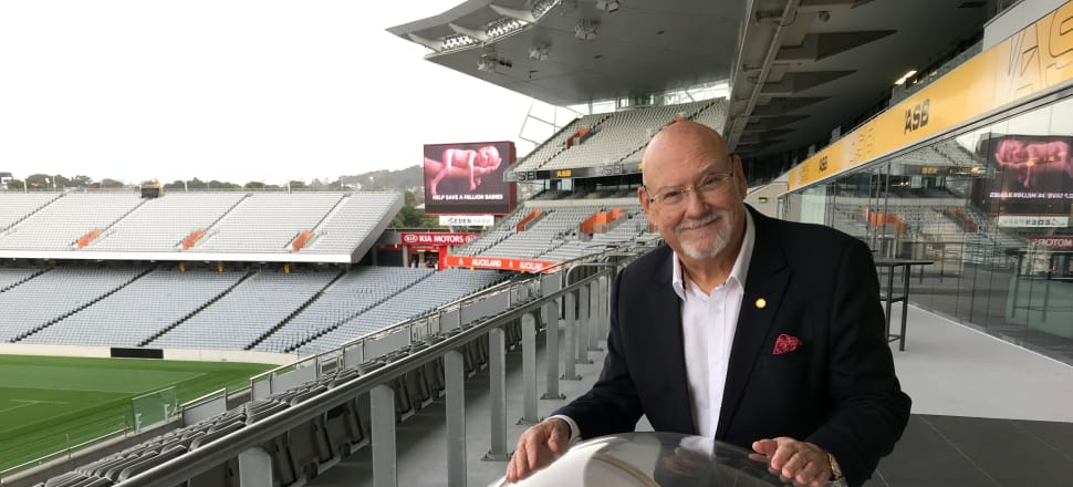 Sir Ray Avery with his LifePod at Eden Park, where he plans to hold a concert to raise funds for the project. Photo: Nicole Lawton/Supplied by Stuff