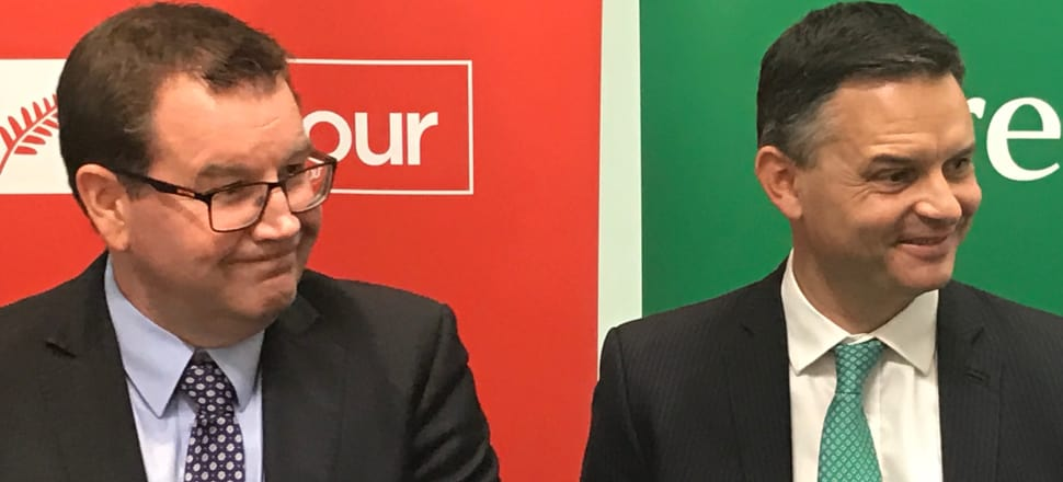Labour's Grant Robertson and the Greens' James Shaw announce their first major joint policy this morning at Auckland's Viaduct Basin. Photo: Tim Murphy