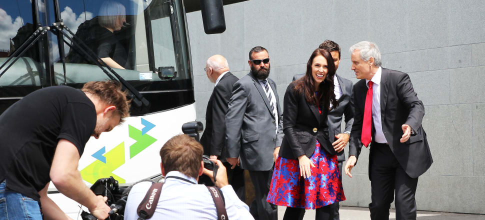 Prime Minister Jacinda Ardern is pleased, and surprised, to see the crowd waiting at Parliament. Photo: Lynn Grieveson