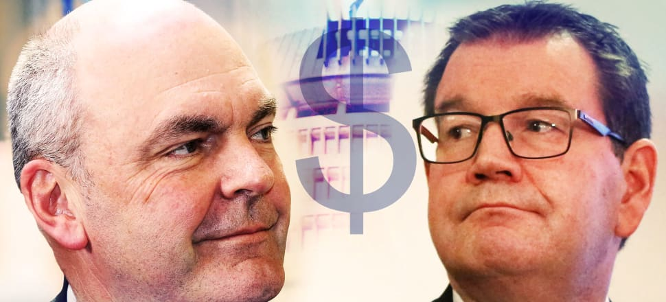 Finance Minister and National Campaign Manager Steven Joyce (L) confronted Labour Finance spokesman Grant Robertson with a claim that Labour's Fiscal Plan had an $11.7 billon hole. Was he on the money? Photo montage by Lynn Grieveson.