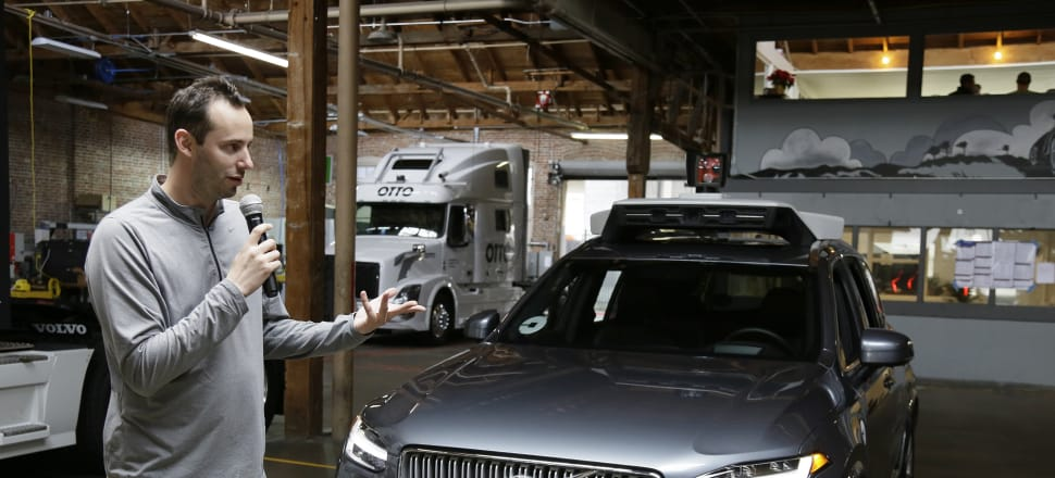 Anthony Levandowski, then-head of Uber's self-driving program, speaks about their driverless car in San Francisco. Photo: AP