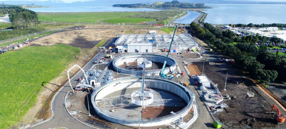 Expansion work at Mangere's Biolgical Nutrient Facility - a $141 million project that forms part of a $7 billion clean up plan. Photo: Watercare