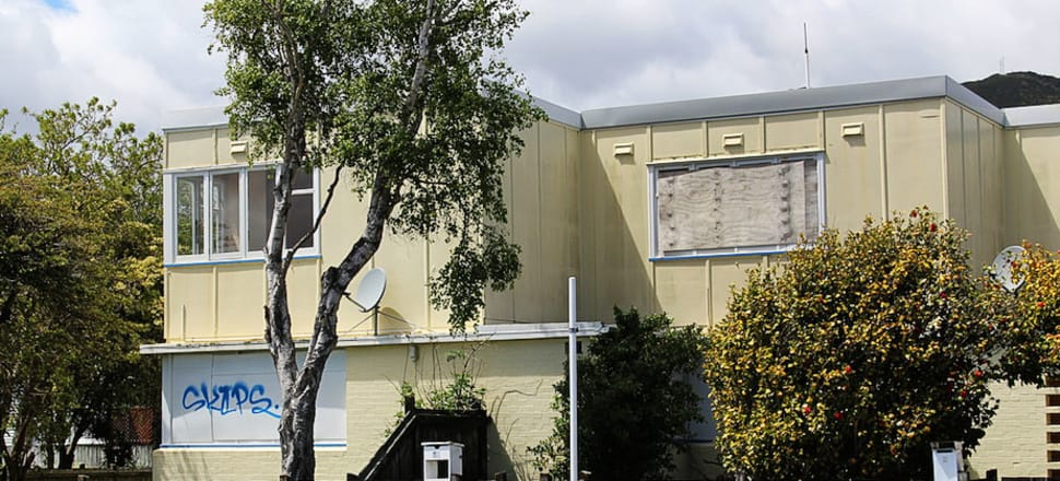 A boarded up state house in Lower Hutt in Wellington. Photo: Lynn Grieveson.