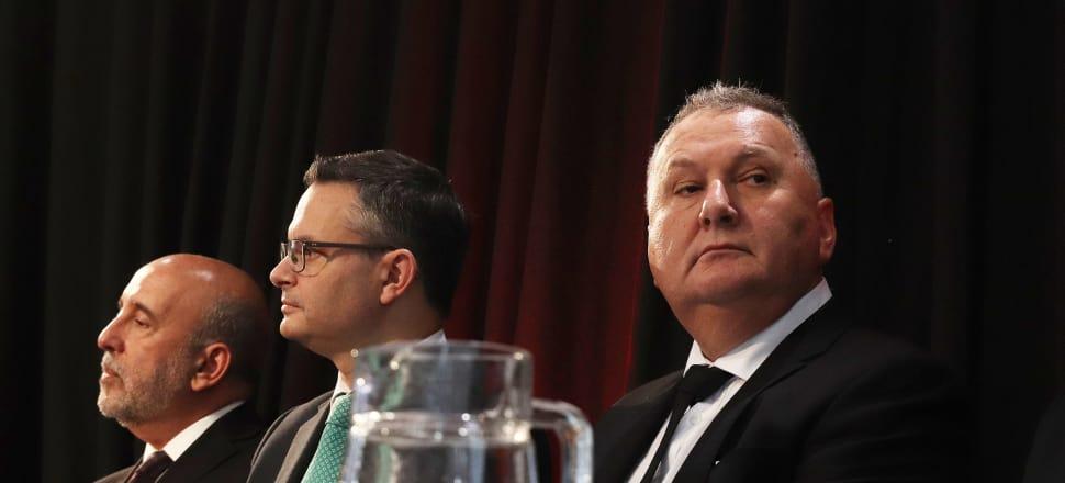 Regional Economic Development Minister Shane Jones, Climate Change Minister James Shaw and Treasury Secretary Gabriel Makhlouf on Budget Day. Photo: Lynn Grieveson