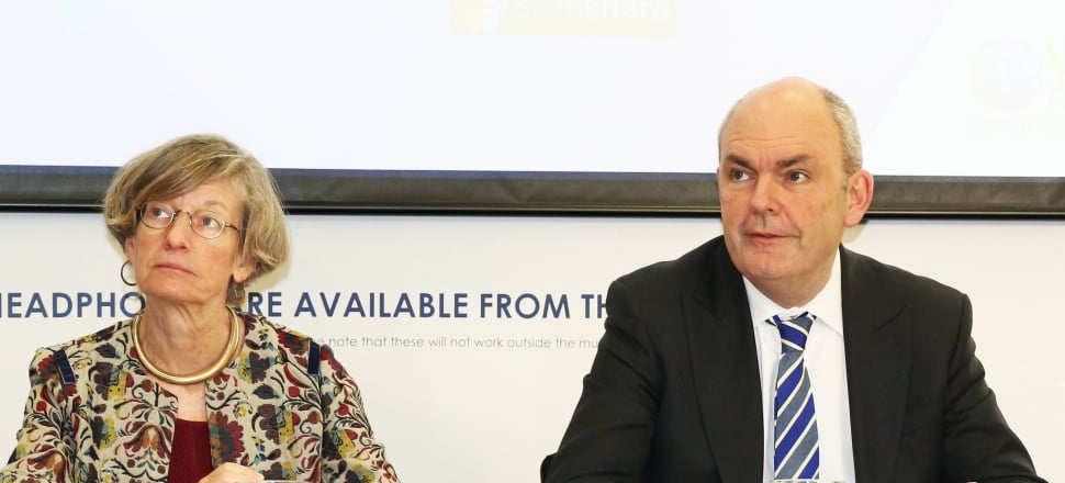 OECD chief economist Catherine Mann and Finance Minister Steven Joyce at the release of the 2017 OECD Economic Survey of New Zealand. Photo by Lynn Grieveson