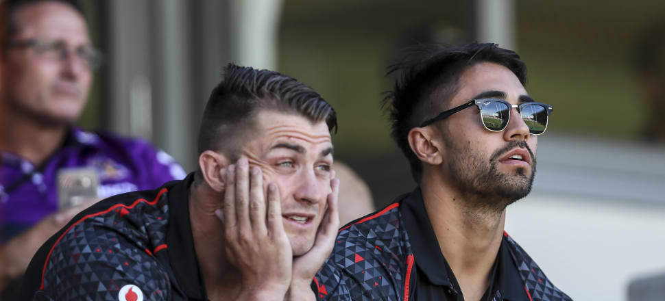 Kieran Foran (left) and Shaun Johnson look on during the 2017 NRL Auckland Nines. Picture: Getty Images