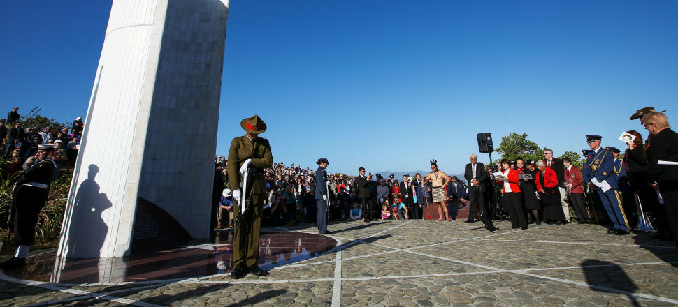 """The Ataturk Memorial Service at the Ataturk memorial at Tarakena Bay in Wellington in 2016. The memorial features the Ataturk 'quotation', complete with the invented line about """"the Johnnies and the Mehmets"""" lying side by side. Photo: Getty Images"""