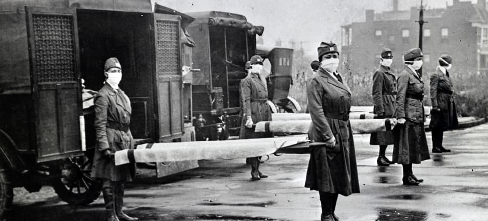 The Red Cross Motor Corps on duty during the Spanish Influenza epidemic in Missouri in 1918. The virus killed 9000 people in New Zealand — that we know about. Photo: Getty Images