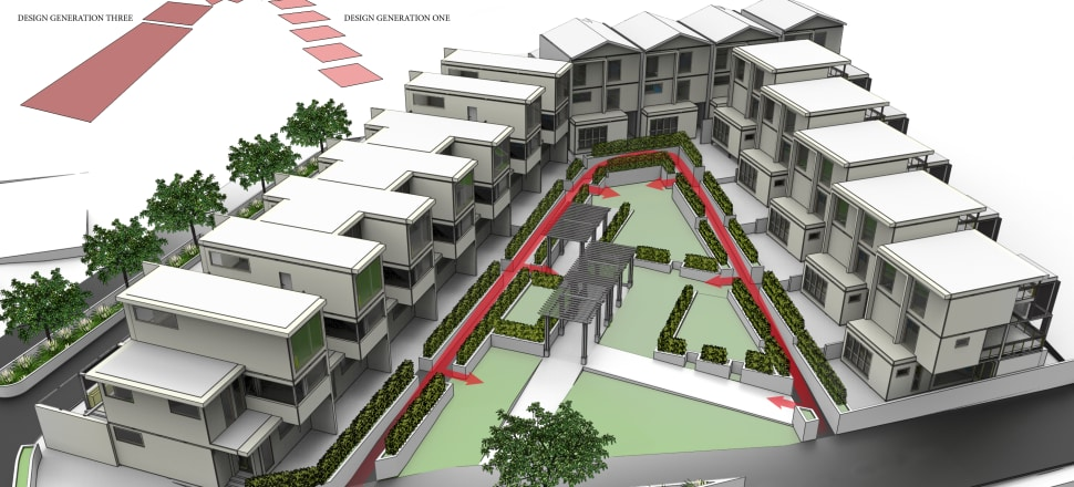 Victoria architecture student Tom Robertson proposed a 'perimeter block' solution for a site in Wellington during his Master's. Image: Tom Robertson
