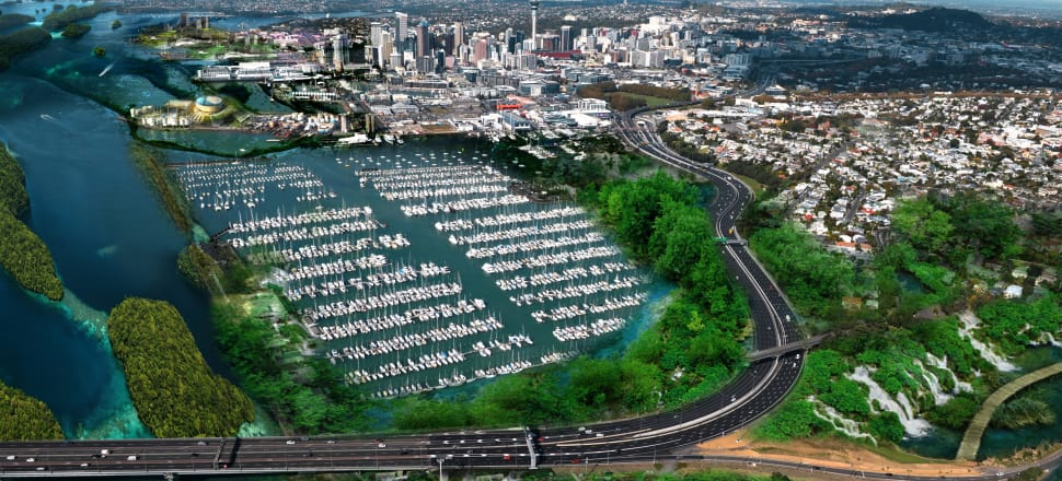 Auckland, city of islands. One of five future scenarios sketched out by city planners. Photo: Urbia Group Ltd
