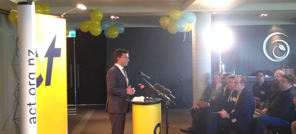 Act leader David Seymour presents at yesterday's annual party conference. Photo: Mark Jennings