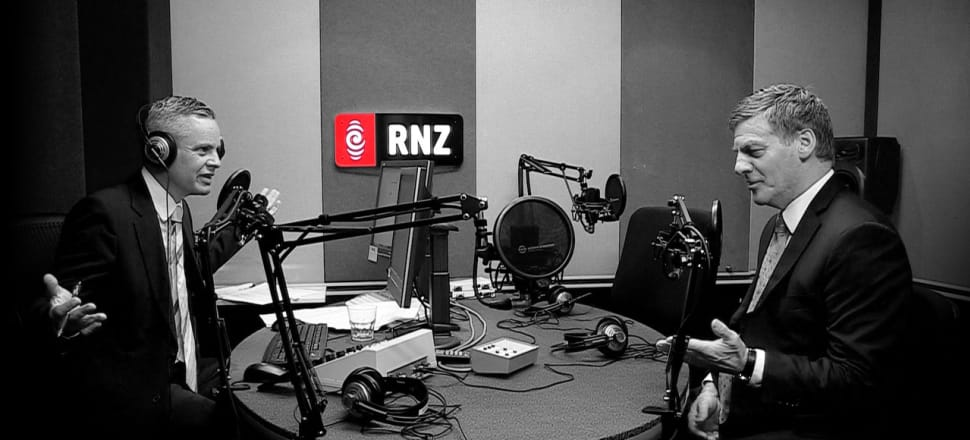 Guyon Espiner interviews Prime Minister Bill English on Morning Report, which has lifted its audience by 11.6 percent in the year to April 8. Photo: Supplied by RNZ