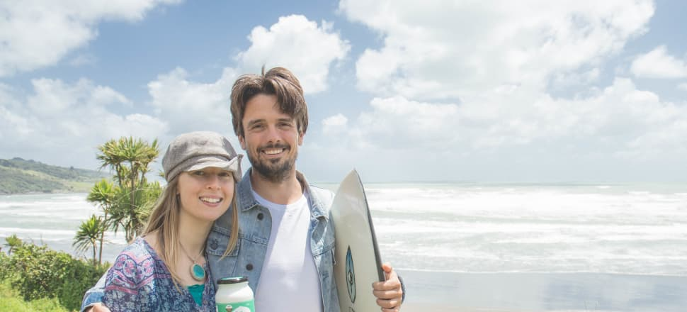 Raglan Coconut Yoghurt founders Tesh Randall and Seb Walter would appreciate government assistance with funding their growing business. Photo: Supplied