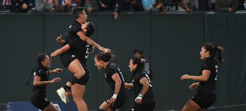 The Black Ferns celebrate victory over France in the final of the Rugby Sevens World Cup in the AT&T Park at San Francisco. Photo: Getty Images
