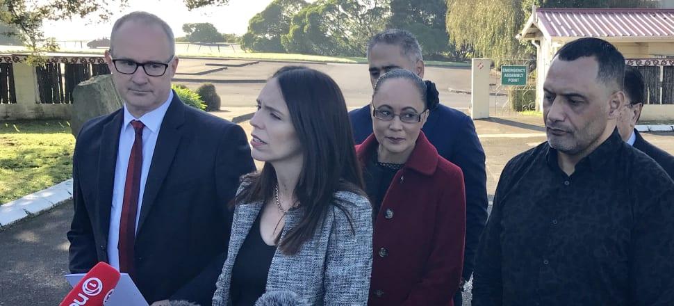 Twyford, Ardern, Jenny Salesa, and Marae spokesman Hurimoana Dennis at Te Puea Marae in Mangere Bridge this morning. Photo: Tim Murphy