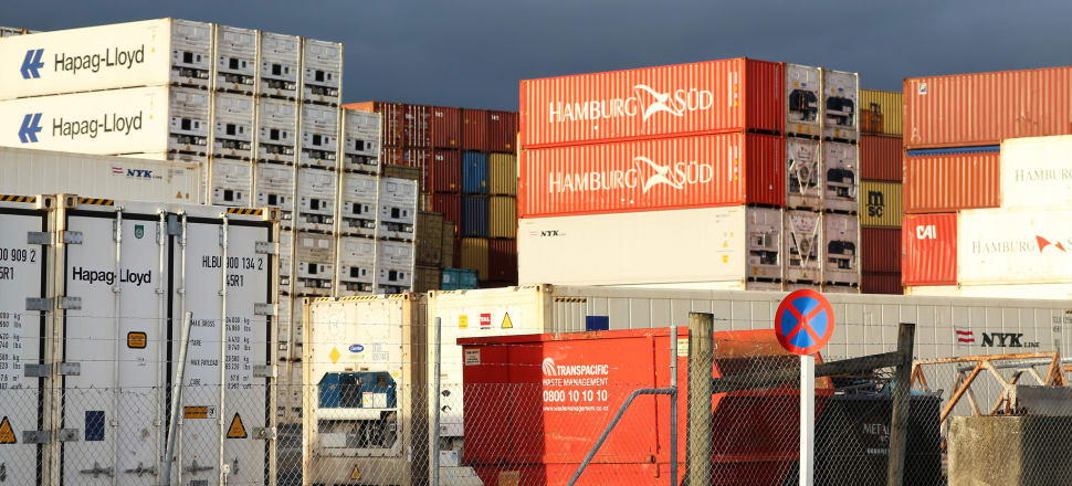 Containers stacked at the Port of Tauranga for export. Photo by Lynn Grieveson for Newsroom
